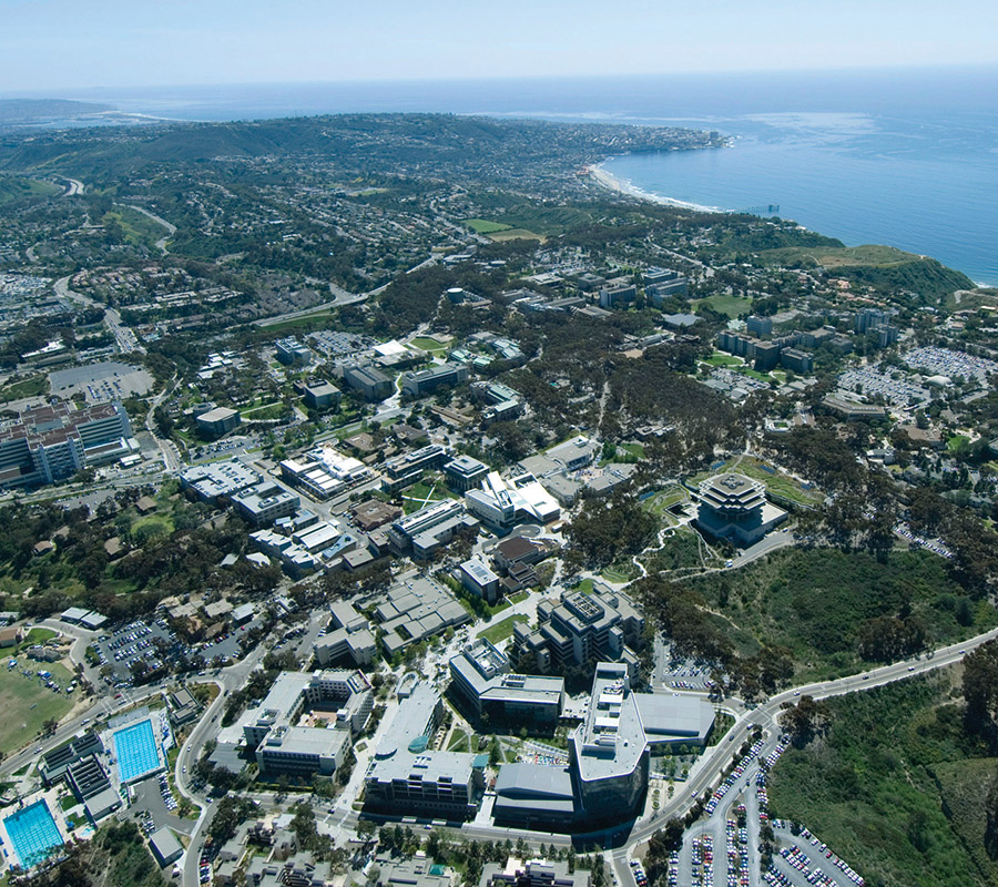 UC San Diego campus flyover shot