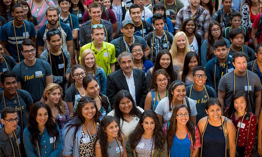Chancellor Khosla surrounded by students